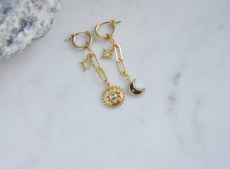 Paperclip Earrings Gold Filled Hoops Asymmetrical Earrings,Star Earrings,Evil Eye Earrings,Sun Earrings Celestial Earrings Moon Earrings