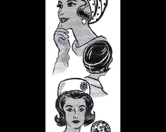 "Mail Order # 9288 Hat TURBAN /& Pill Box Sewing Pattern Chemo Alopecia 23/"" 1950/'s"