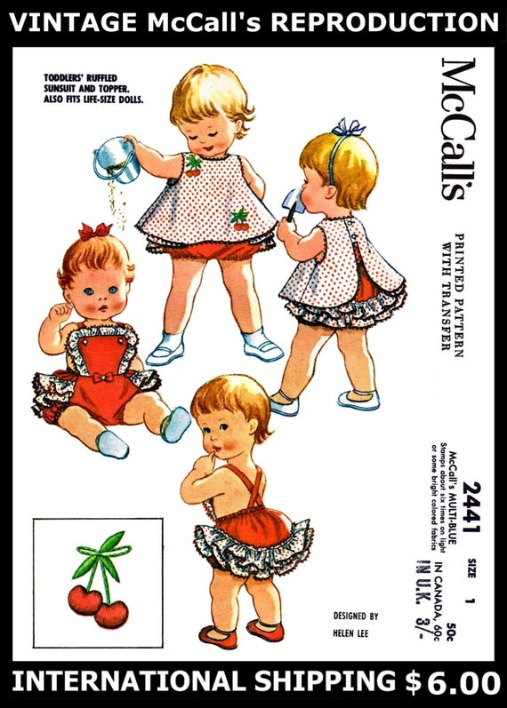 Vintage Cloth Doll Pattern ~ Doll in Sunsuit