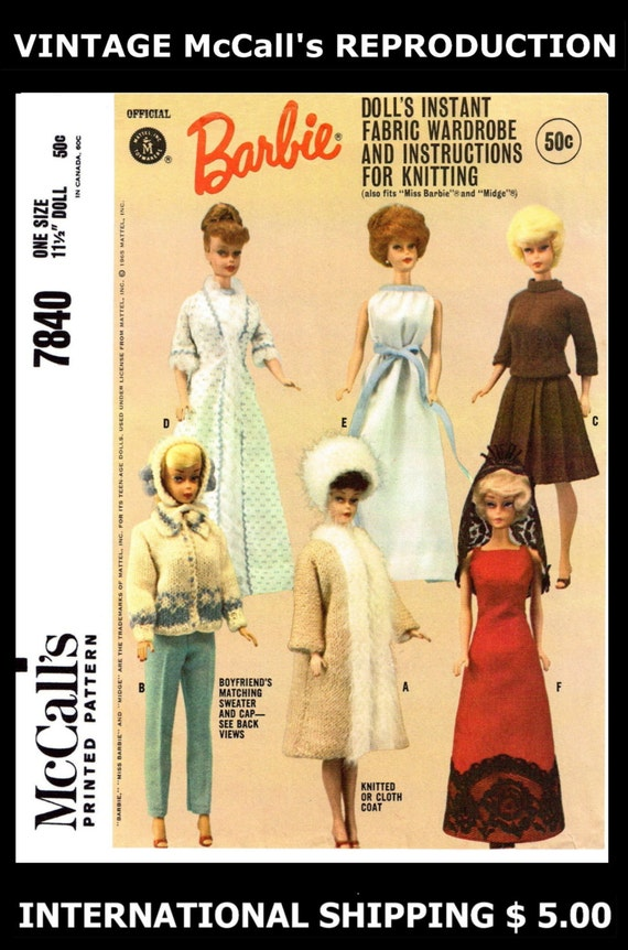 "Betsy McCall Tammy 11 1//2/""-12/"" DOLL Fabric Sewing Pattern Mattel McCall/'s # 7673"