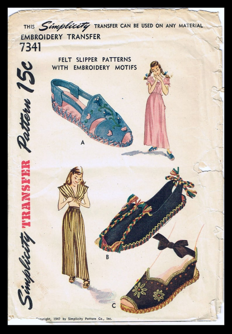 1940s Sewing Patterns – Dresses, Overalls, Lingerie etc 1940s Embroidered FELT Slippers Summer SHOES Espadrille Sandal Fabric Pattern SIMPLICITY # 7341 Costume Small Med Large Reproduction / Copy $10.99 AT vintagedancer.com