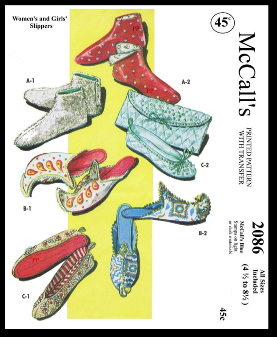 UNIQUE COZY FELT Slippers Fabric Sewing Pattern S-M-L 7957 McCALL/'S Vintage