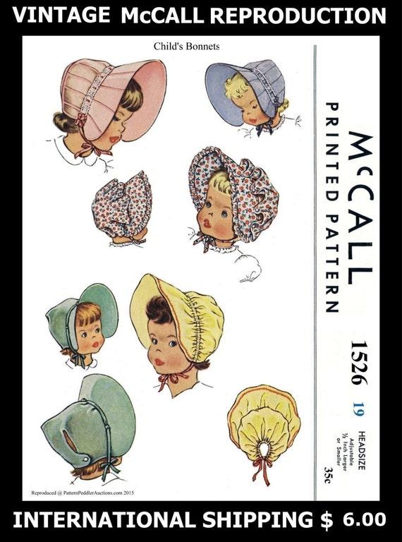 BEBÉ Capo sombrero coser patrón tela Material arte McCall #1526 niño  viseras tapa sombreros Fascinator 19 \