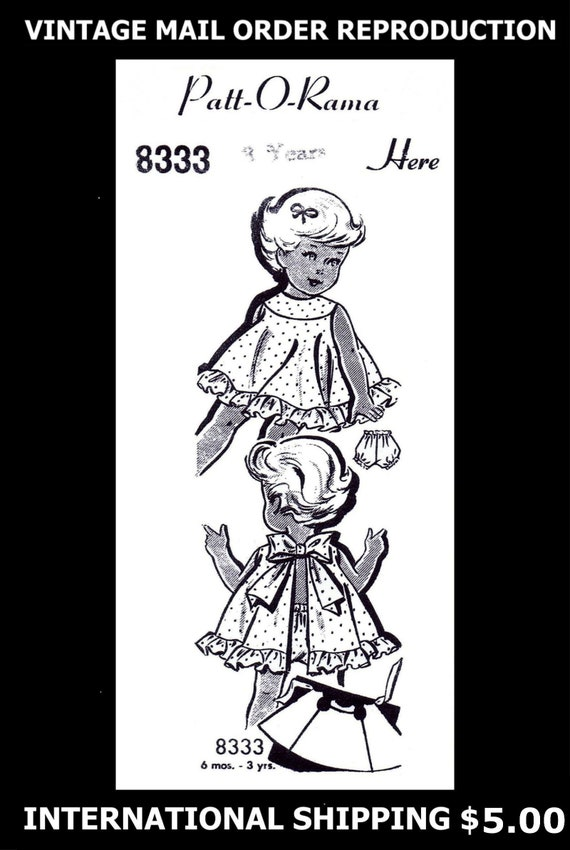 Pattern Dress Frock /& Panties BABY GIRL Toddler Child ~3 years~ Patt-O-Rama 8333
