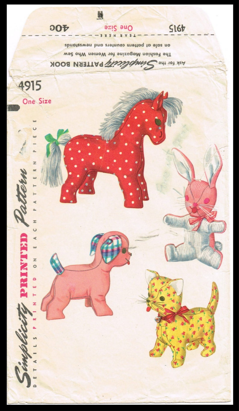 Cats soft toys sewing pattern Copy from vintage book