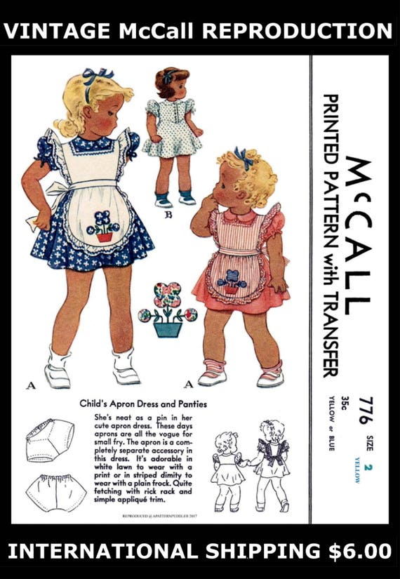 McCall 1094 Dress Frock BONNET Panties Sewing Pattern Toddler GIRL Child Sz ~4~
