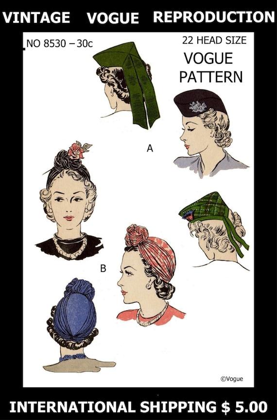 VOGUE 8530 Millinery SEXY Hüte TURBAN Toque Vintage 30er | Etsy