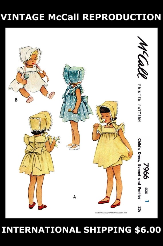 McCall 7966 BABY Mütze Kleid Kleid & Höschen Schnittmuster | Etsy