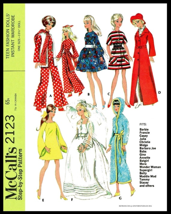 Annette Andy Midge Christie Stacy Vtg 60s Doll Clothes Pattern ~ Barbie /& Ken