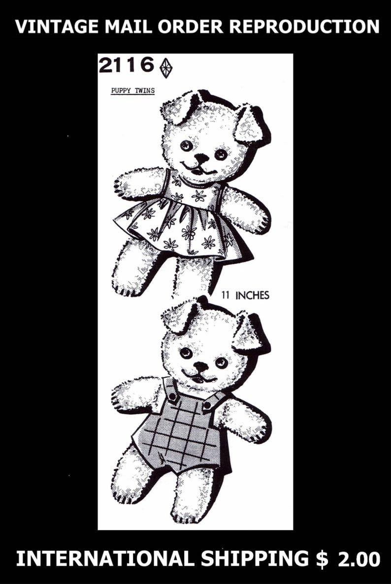 Terry Cloth Fabric Sewing Pattern Puppy DOG Perro TWINS Mail Order mo  Design 2116 Stuffed Animal Toy Vintage 1940's Reproduction / Copy 11