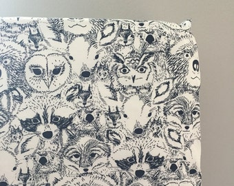 Woodland Crib Bedding, Fitted Crib Sheet or Changing Pad Cover, Navy and White Bedding, Indian Summer Crib Sheet, Woodland Nursery Sheet