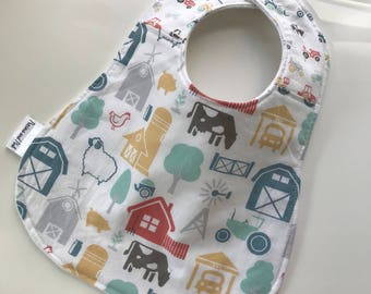 Baby Bib, Farm Bib, Tractor Baby Bib, Teething Bib, Layered Bib, Snap Closure, Organic Cotton Fleece Bib, Baby Shower Gift