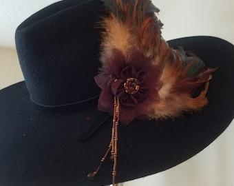 Dangle Clips, Sweet Lolita Fashion, Pastel Goth Hair Clip, Edwardian Fascinator, Steampunk fascinator, Cosplay accessories, Feather clip