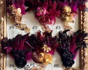 Romance in Color, Sweet Lolita Fashion, Goth headdress Fascinator, Vampire ball Fascinator, Edwardian Ball Fascinator, Steampunk fascinator