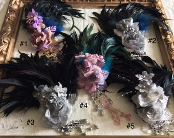 Dark Romance, Feather headdress, Goth fascinator, 1920s Great Gatsby, Vampire Ball Headress, Prom Accessories