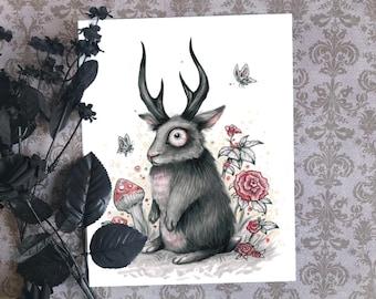 "Jackalope Rabbit Art Print - 5"" x 7""   Antler Bunny   Spooky Cute Hare   Goth Artwork"