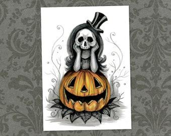 """Waiting for Halloween Art Print - 5"""" x 7""""    Spooky Skull Girl     JackO Lantern Artwork"""