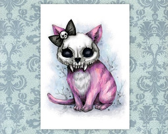 "Princess - Pink Cat Art Print - 5"" x 7""   Skull Artwork   Spooky Animals"