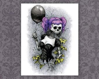 """Joy Skull Girl Art Print - 8"""" x 10""""    Evil Clown Artwork   Cute Skeleton Demon Fantasy"""