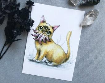 """Eldritch Catthulhu Art Print - 5"""" x 7""""    Orange Cat Cthulhu    Tentacles   Lovecraft Eldritch Artwork   Cosmic Horror"""
