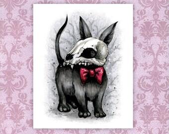 "Spooky Pet Skull Art Print - 5"" x 7"" Mini Print   Death Hound Horror Dog   Spooky Animals   Goth Artwork"