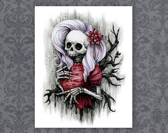"Goth Fashion Skull Girl Art Print - 8"" x 10""    Spooky Macabre Artwork"
