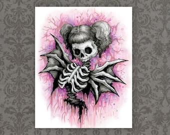 "Pink Demon Skull Art Print - 8"" x 10""    Spooky Horror Girl Artwork   Nightmare Fuel"