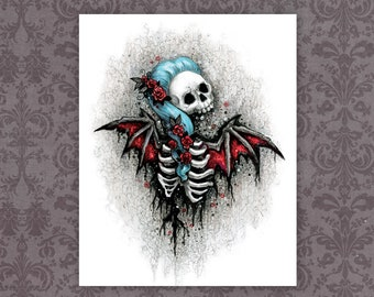 "Spooky Goth Skull Art Print - 8"" x 10""    Macabre Horror Bat Girl   Dark Fantasy Skeleton Art"