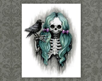 "Goth Skull Girl Art Print - 8"" x 10""    Spooky Green Hair   Raven Macabre  Artwork"