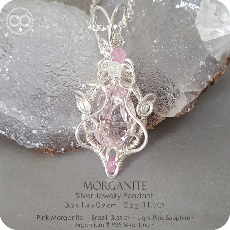Sapphire Silver Jewelry Necklace H135 Pink Morganite
