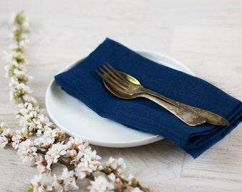 Navy Blue Linen Napkins Wedding dinner Cloth Napkins Set 6 Nautical cocktail Napkins Eco friendly fabric napkins