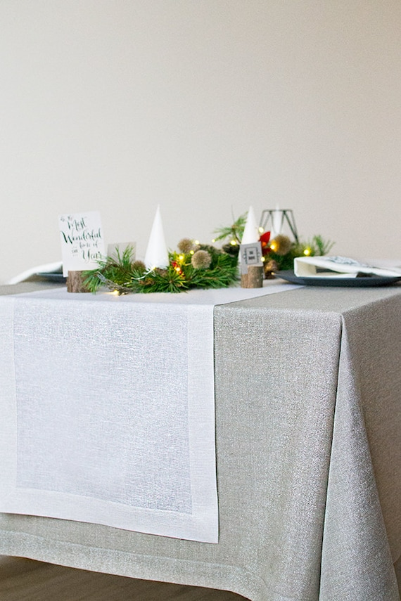White silver linen table RUNNER Christmas metallic table scapes Wedding table centerpiece decor Holiday party dinner table decoration