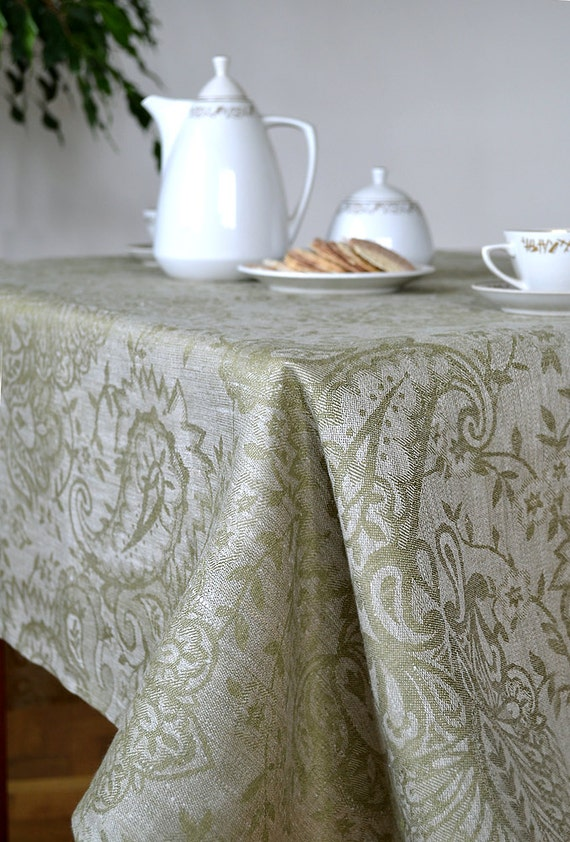 Gentil Linen Tablecloth Olive Green Tablecloth Wide Tablecloth | Etsy