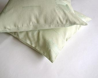 Green pillow cushion Nursery decor pillow cover Linen throw cover Embroidered pillow cover Decorative linen cover Green sofa pillow throw