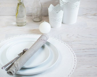 Linen Placemats White Wedding decor centerpiece placemats Round table placemats Set 4 table mats Lace placemats Bridal Shower Table Decor