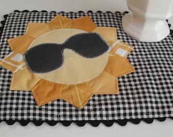 Mr. Sunshine Mini Quilt Mug Rug PDF Pattern Tutorial - Sunglasses and Sun