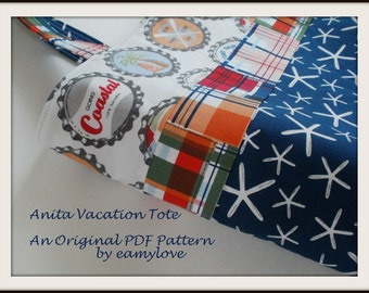 PDF Pattern for Anita Vacation Tote Bag - Tutorial Style Sewing Pattern
