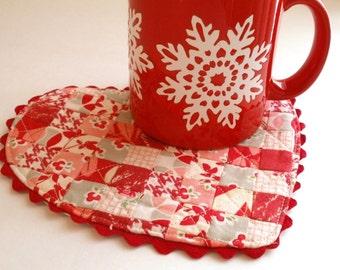 Be My Valentine Heart Mug Rug PDF Pattern