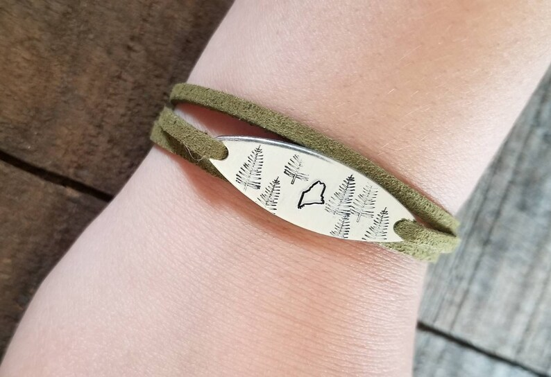 state of Maine jewelry handstamped wrap bracelet Maine made, motivational jewelry Hand stamped Maine necklace Maine jewelry
