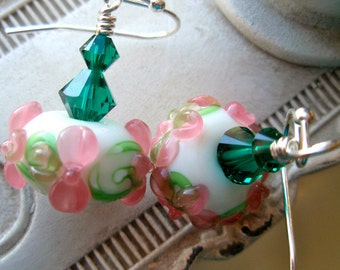 Fancy Pink Lampwork Boro Beads and Green Swarvoski Crystal Earrings, Emeral Green Earrings, Crystal Earrings