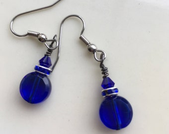 Cobalt Blue Earrings, Round Cobalt Blue Earrings, Cobalt Blue Swarovski Earrings