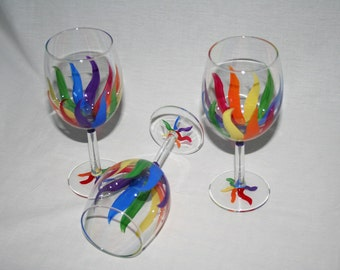 rainbow streamers wineglass hand painted
