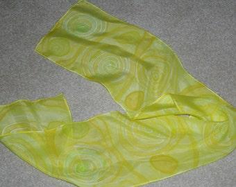 swirls silk scarf hand painted