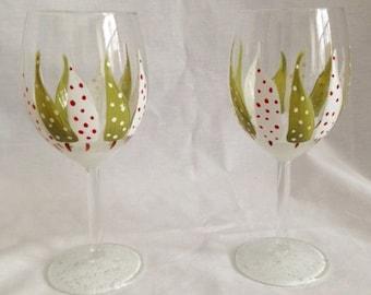 christmas tree wineglass hand painted