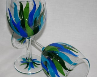 cool streamers wineglass hand painted