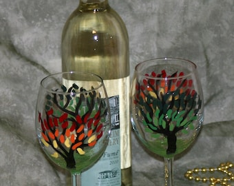 fall trees wineglass hand painted