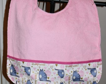 Cats- Adult Bib - Clothing Protector - women - pocket - nursing home - assisted living - seniors