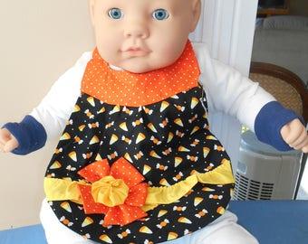 Flowered Baby Bib - Candy Corn - Bow - Ruffle - Halloween - Holiday - Polka Dots - Sweets - Girl