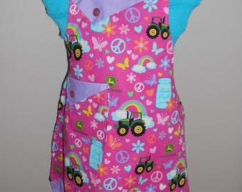 JD Girl's Apron - Tractors - Peace Signs- Flowers - Farm Fresh - Ruffle - Pockets - Child