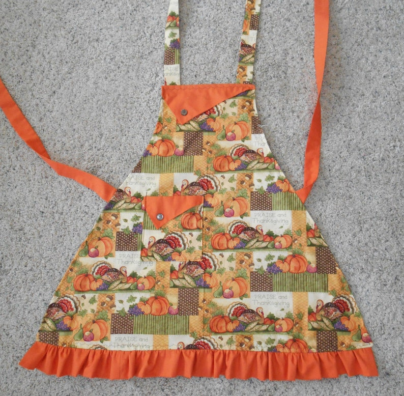 ruffle polka dots Praise Thanksgiving pocket pumpkins gourds Women/'s Apron turkeys